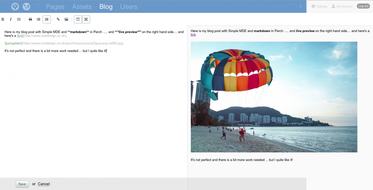 Live preview, SimpleMDE editor and Perch CMS