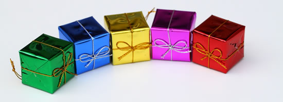 Christmas presents with different colours