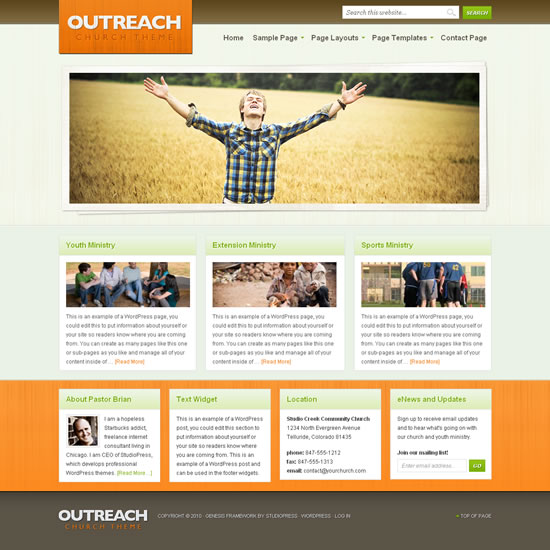 Outreach theme screenshot